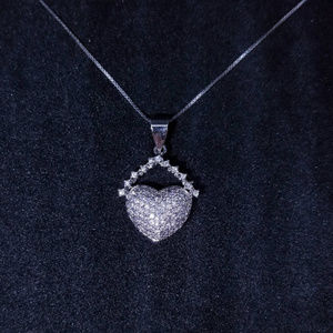Silver Cute Chained Heart CZ Stones Pendant